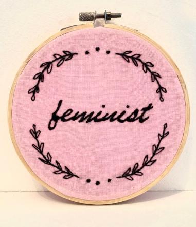 Feminist embroidery hoop art lavraxlondon